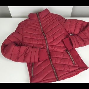 YMI Girls Red Puffer Coat Faux Fur Lining Size S
